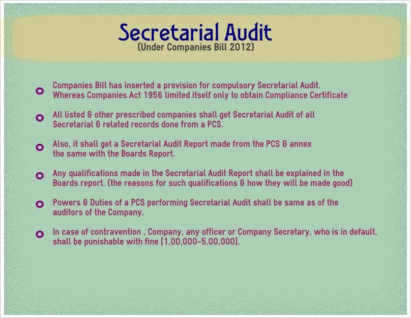 Secretarial Audit Under Cos Bill 2012 Proglobalcorp